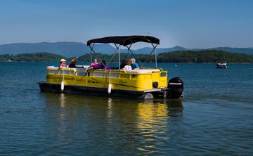 single yellow boat